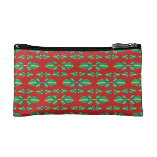 Tropical Stylized Floral Pattern Cosmetic Bag