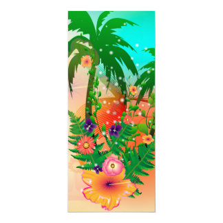 "Tropical summer design 4"" x 9.25"" invitation card"