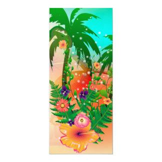 Tropical summer design 4x9.25 paper invitation card