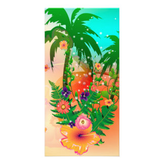 Tropical summer design personalized photo card