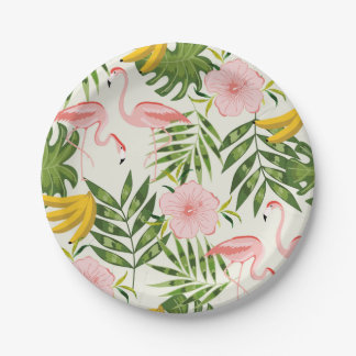 Tropical Summer Flamingo Paper Plate 7 Inch Paper Plate