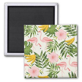 Tropical Summer Flamingo Square Magnet