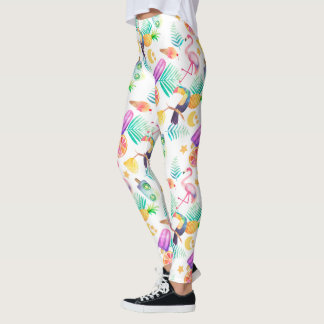 Tropical Summer Fun Pattern Leggings