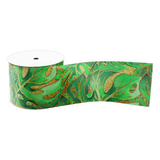 Tropical Summer gliiter Grosgrain Ribbon