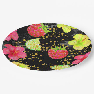 Tropical Summer Glitter 9 Inch Paper Plate