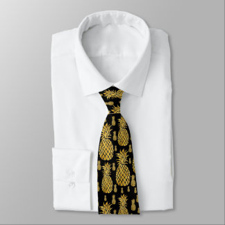 tropical summer golden pineapples on black tie