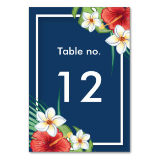 Tropical Summer Hibiscus and Plumeria personalized Table Cards