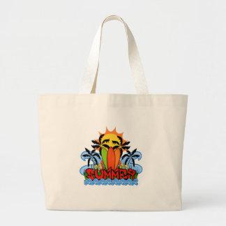 Tropical summer large tote bag