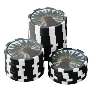 Tropical summer palm tree poker chips