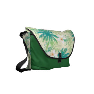 Tropical summer palm trees courier bags