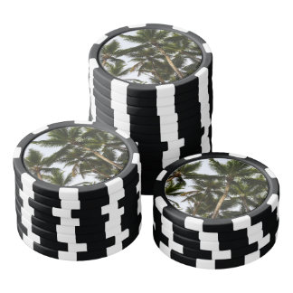 Tropical summer palm trees poker chips