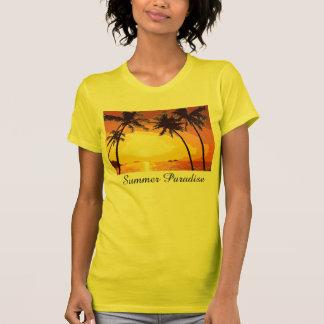 Tropical Summer Paradise Sun Palm Trees Pick Color Tshirts