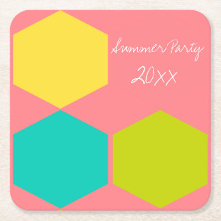 Tropical Summer Party Blocks Personalized Square Paper Coaster
