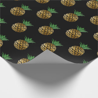 Tropical summer pineapple fruit green black gold wrapping paper