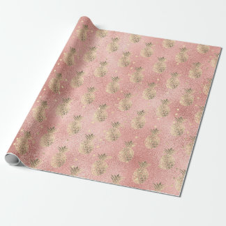 Tropical summer pineapple fruit rose gold glass wrapping paper
