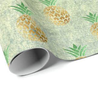 Tropical summer pineapple grungy gold mint fruits wrapping paper