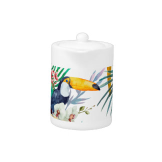 Tropical summer Pineapple Parrot Bird watercolor