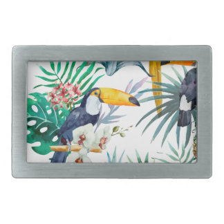 Tropical summer Pineapple Parrot Bird watercolor Belt Buckle