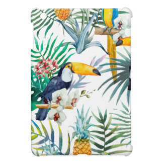 Tropical summer Pineapple Parrot Bird watercolor Case For The iPad Mini