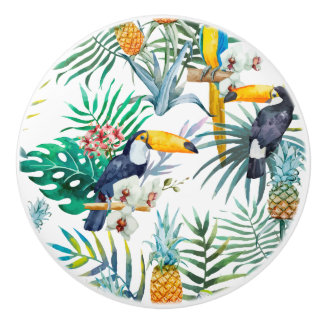 Tropical summer Pineapple Parrot Bird watercolor Ceramic Knob