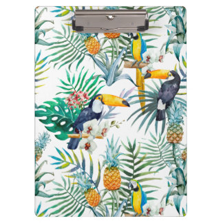 Tropical summer Pineapple Parrot Bird watercolor Clipboard