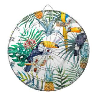 Tropical summer Pineapple Parrot Bird watercolor Dartboard