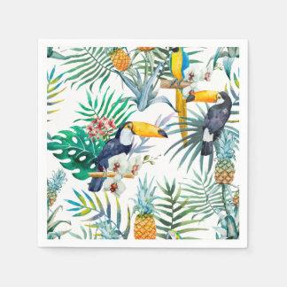 Tropical summer Pineapple Parrot Bird watercolor Disposable Napkin
