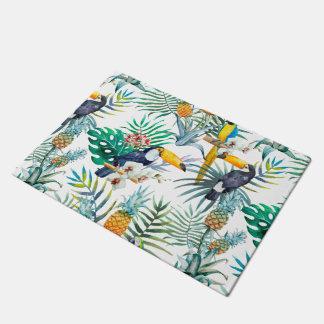 Tropical summer Pineapple Parrot Bird watercolor Doormat