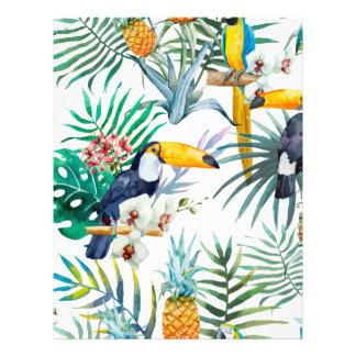 Tropical summer Pineapple Parrot Bird watercolor Letterhead