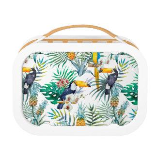 Tropical summer Pineapple Parrot Bird watercolor Lunch Box