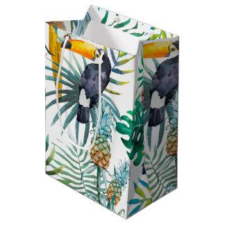 Tropical summer Pineapple Parrot Bird watercolor Medium Gift Bag