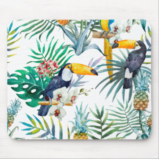 Tropical summer Pineapple Parrot Bird watercolor Mouse Pad