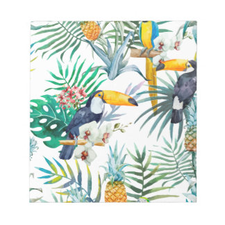 Tropical summer Pineapple Parrot Bird watercolor Notepad