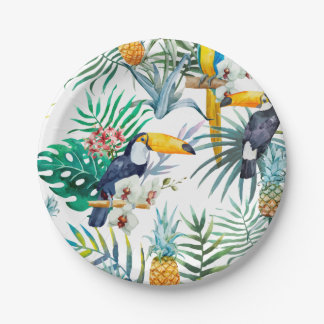 Tropical summer Pineapple Parrot Bird watercolor Paper Plate