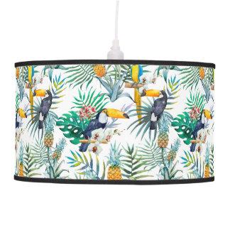 Tropical summer Pineapple Parrot Bird watercolor Pendant Lamp