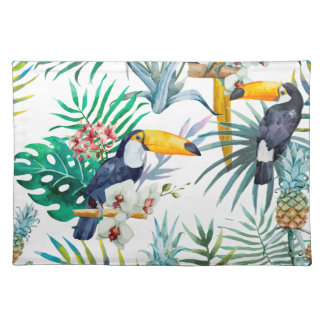 Tropical summer Pineapple Parrot Bird watercolor Placemat