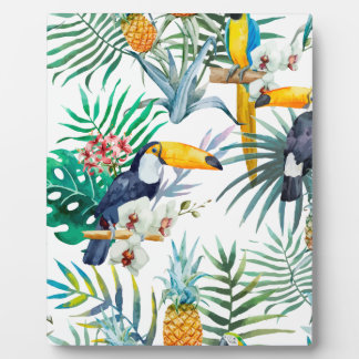 Tropical summer Pineapple Parrot Bird watercolor Plaque