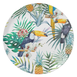 Tropical summer Pineapple Parrot Bird watercolor Plate