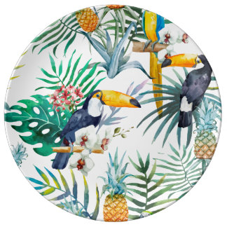 Tropical summer Pineapple Parrot Bird watercolor Plate