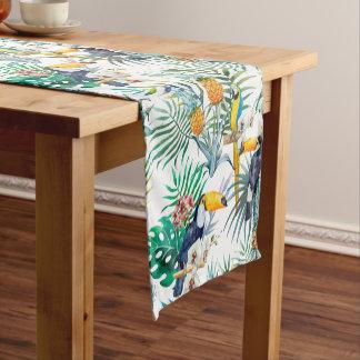 Tropical summer Pineapple Parrot Bird watercolor Short Table Runner