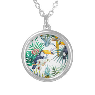Tropical summer Pineapple Parrot Bird watercolor Silver Plated Necklace