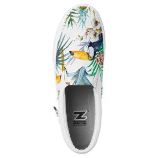 Tropical summer Pineapple Parrot Bird watercolor Slip-On Sneakers