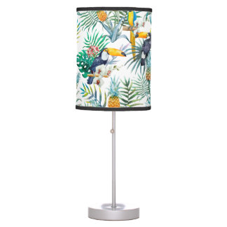 Tropical summer Pineapple Parrot Bird watercolor Table Lamp