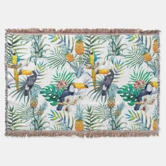 Tropical summer Pineapple Parrot Bird watercolor Throw Blanket