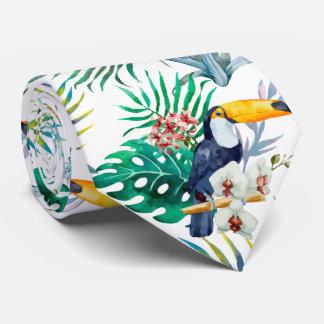 Tropical summer Pineapple Parrot Bird watercolor Tie