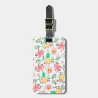 Tropical summer pink yellow watercolor flowers luggage tag