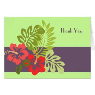 Tropical Summer Red Pink Hibiscus Flower Thank You Card