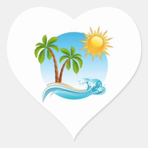 Tropical Summer Heart Sticker