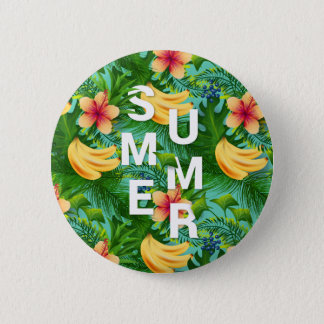 Tropical summer text on banana flowers background 2 inch round button