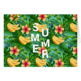 Tropical summer text on banana flowers background card